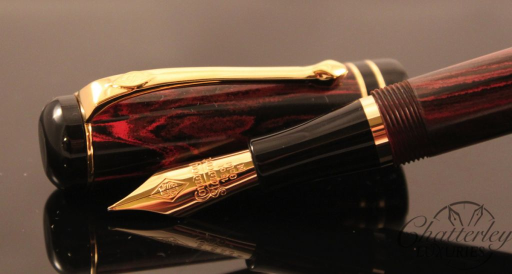 Conway Stewart Red Ripple Wordsworth Ebonite Fountain Pen (2)