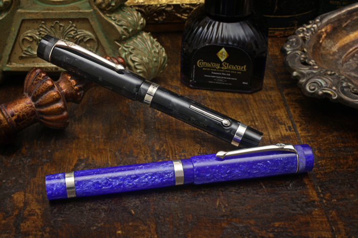 Conway Stewart Marlborough Sapphire Blue and Graphite Fountain Pens