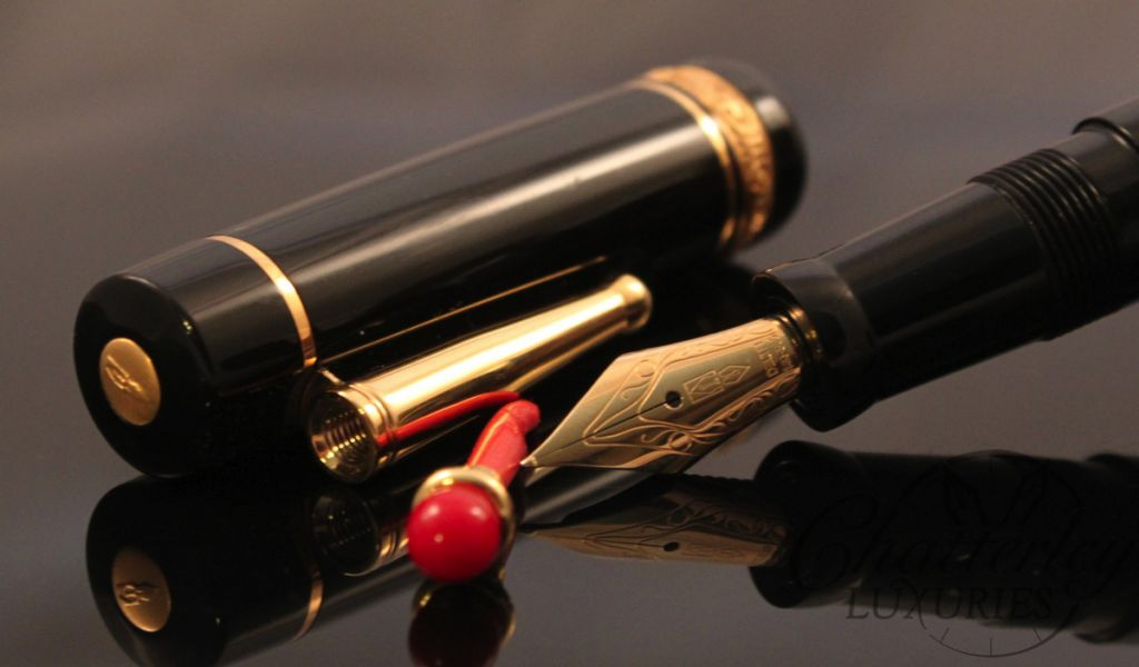 Delta Lucky Pen Black with Gold Trim Fountain Pen