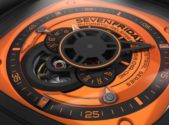 sevenfriday p13 industrial essence orange automatic watch