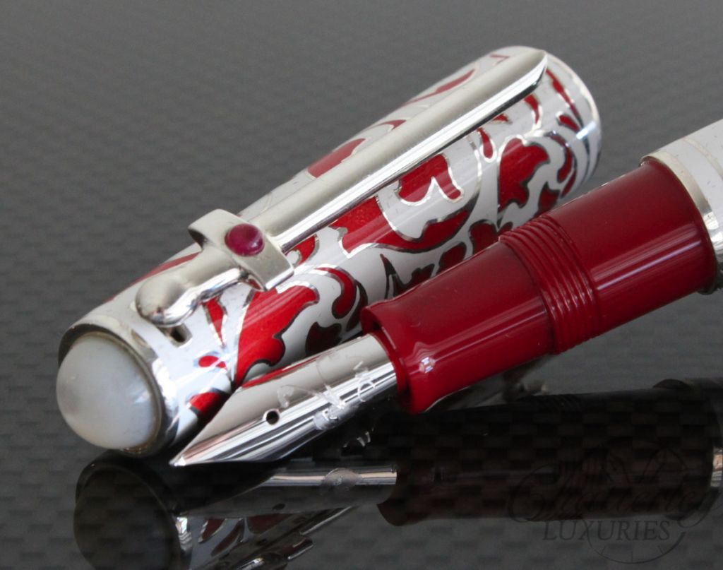Omas St George Fountain Pen White and Red