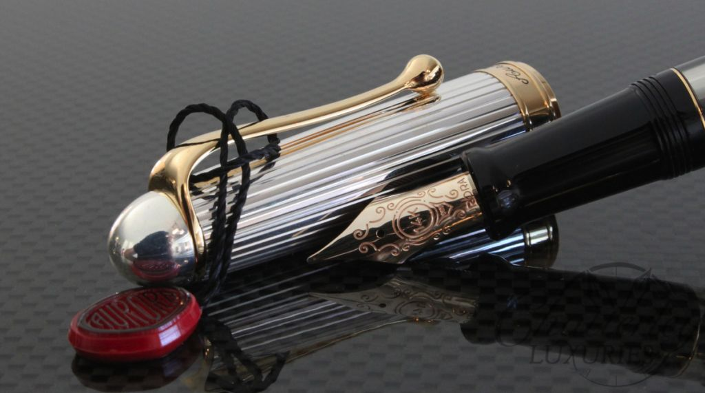Aurora Optima Black Solid Sterling Silver Cap Piston Filled Fountain Pen Gold Trim