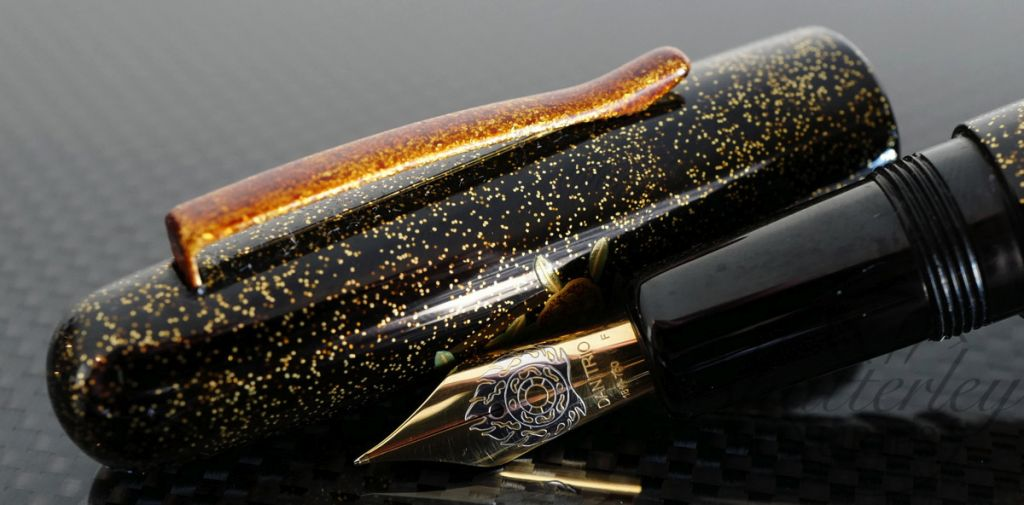 Danitrio Maki-e Spring Flowers Fountain Pen on Takumi Round top with Painted Clip