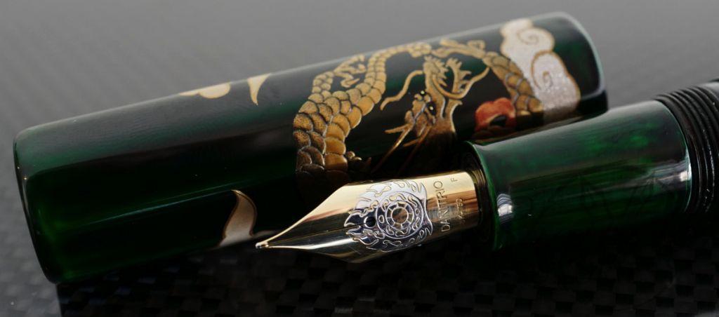 Danitrio Maki-e Dragon, Phoenix and Flower Tame-nuri on Hakkaku (Octogon) Fountain Pen