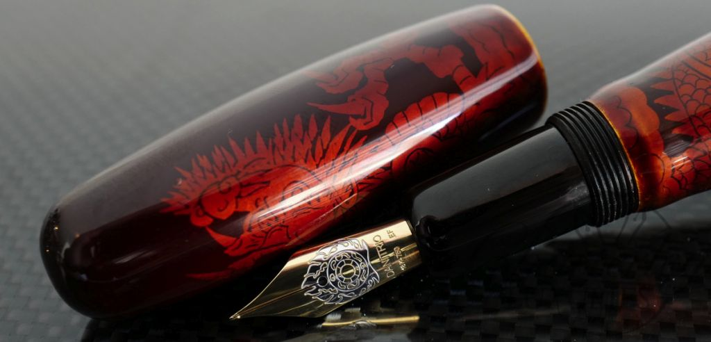 Danitrio Byakudan-nuri with design of Dragon on Grand Trio in Red Background