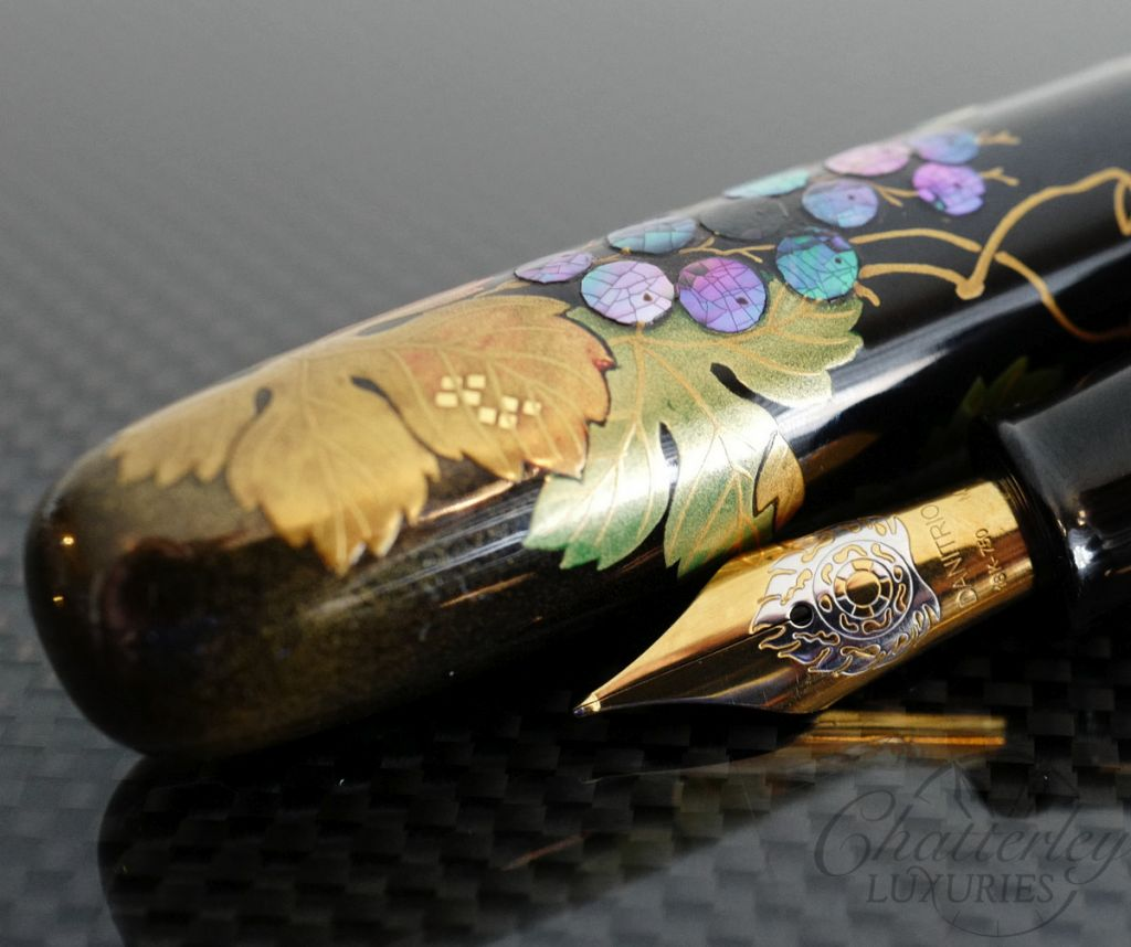 Danitrio Maki-e Squirrel & Grape Fountain Pen on Takumi with Clip