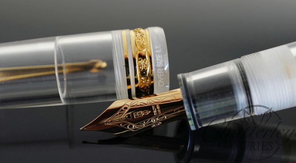 Delta Dolce Vita Fountain Pen Italian Technology Oversized Demonstrator Button Filler with Gold Trim