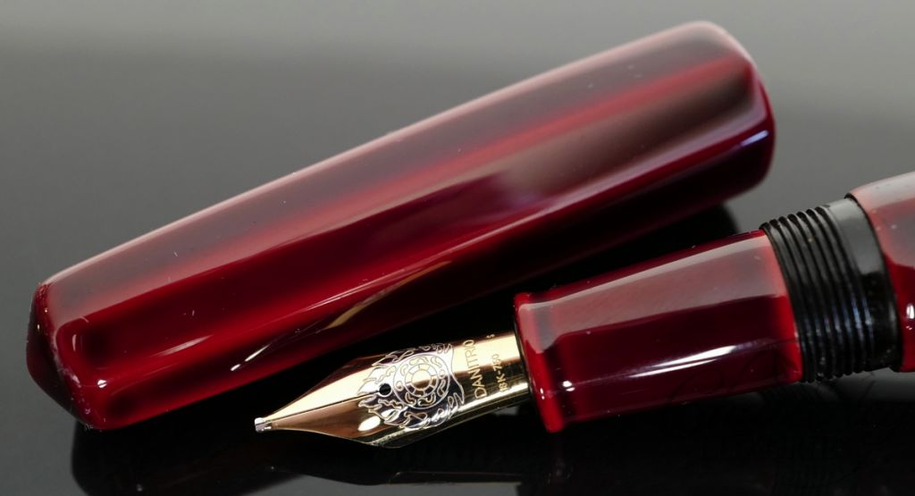 Danitrio Urushi Tame-nuri Urumi (Red Wine) on a Hakkaku (Octogon) Fountain Pen