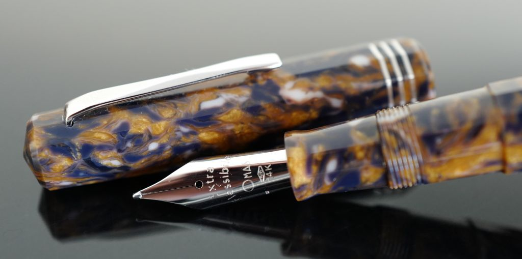 Omas Blue Saffron Celluloid Limited Edition Old Style Paragon Fountain Pen with Silver Trim