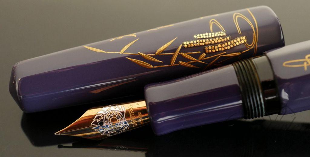 Danitrio Maki-e Miotsukushi From 100 poems by 100 Poets on Purple Hakkaku (Octogon) Fountain Pen