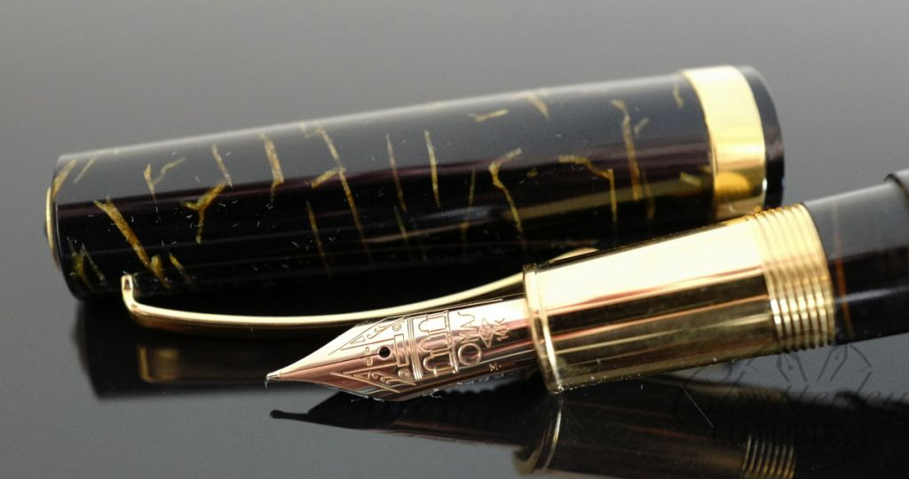 Omas Bologna Black and Gold Celluloid Fountain Pen
