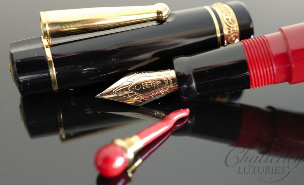 Delta Lucky Pen Red/Black with Gold Trim Fountain Pen