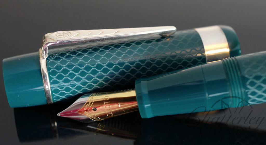 Onoto Magna Classic Jade and Silver Fountain Pen