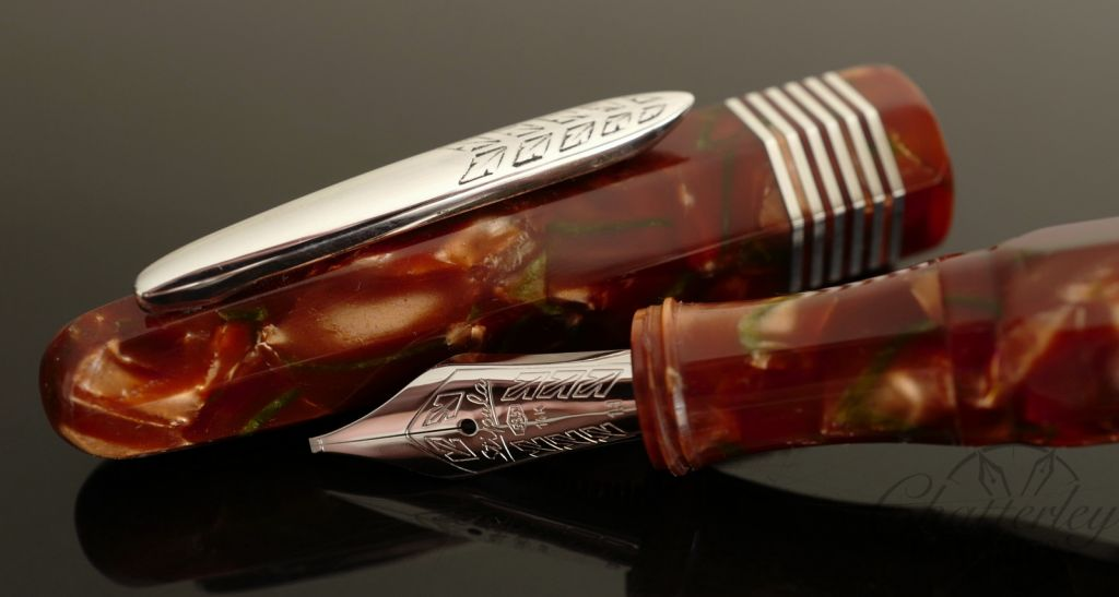 Stipula Faceted Etruria Piston Red and Green Celluloid Limited Edition Fountain Pen
