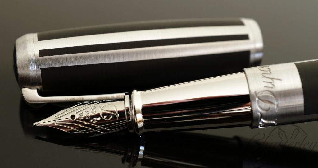 ST Dupont D Line Matte Black Lacquer & Palladium Fountain Pen