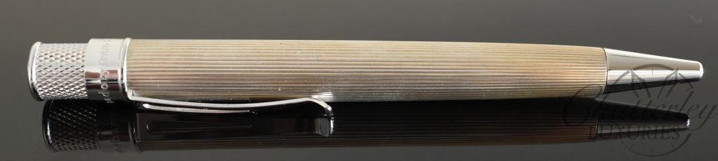 Retro 1951 Sterling Silver Tornado Line Cut Ballpoint Pen