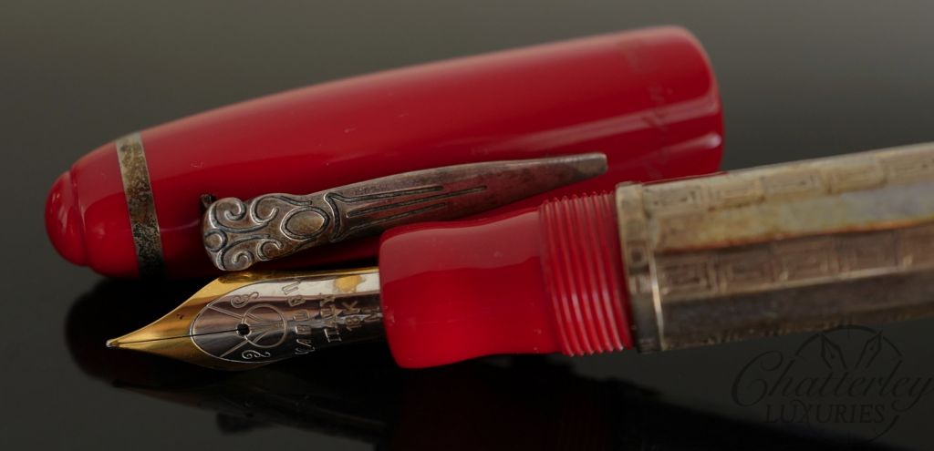 Marlen Red and Sterling Silver Fountain Pen