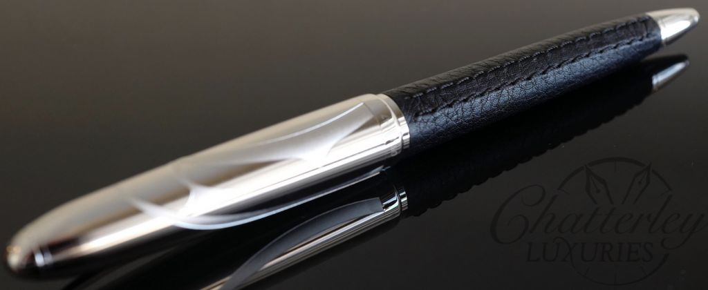 Cartier Limited Edition Louis Logo Black Leather Ball Pen