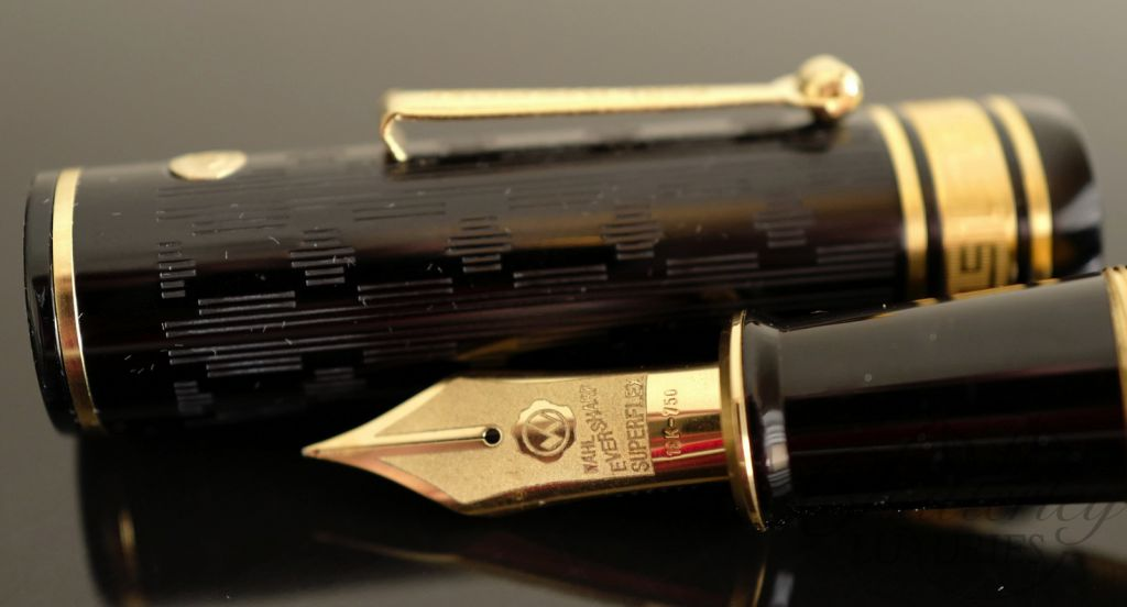Wahl Eversharp DECOBAND Gold Seal Oversized Collection GATSBY Black Etched Gold Trim Fountain Pen