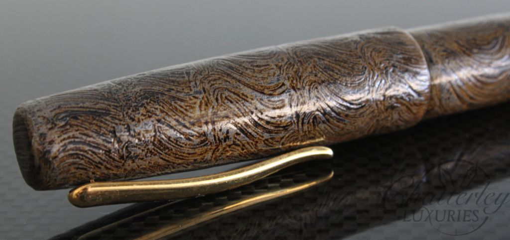 Danitrio Kawari - Nuri ( Free Patterns ) Tan/Olive Waves  (Ginnami-nuri) with gold clip Fountain Pen