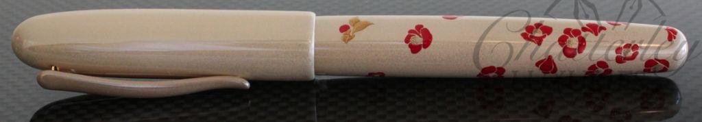 Danitrio Maki-e Urushi Shiro Camellia Fountain Pen with Painted Clip