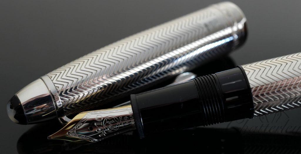 Montblanc 146 LeGrand Meisterstuck Solitaire Silver Barley Fountain Pen
