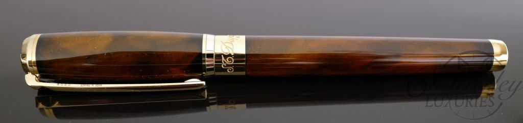 ST Dupont Atelier Navy Brown Lacquer Fountain Pen - Yellow Gold