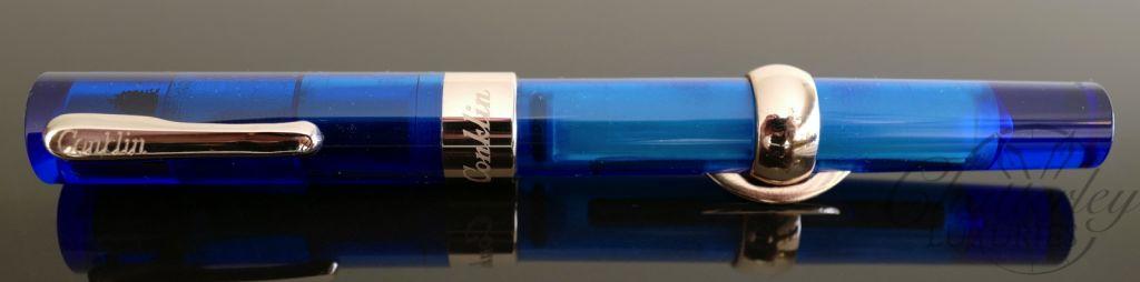 Conklin Mark Twain Blue Demonstrator Crescent Filler Fountain Pen-Rose Gold Trim