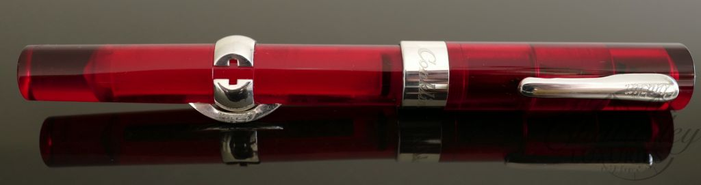 Conklin Mark Twain Red Demonstrator Crescent Filler Fountain Pen-Sterling Silver Trim