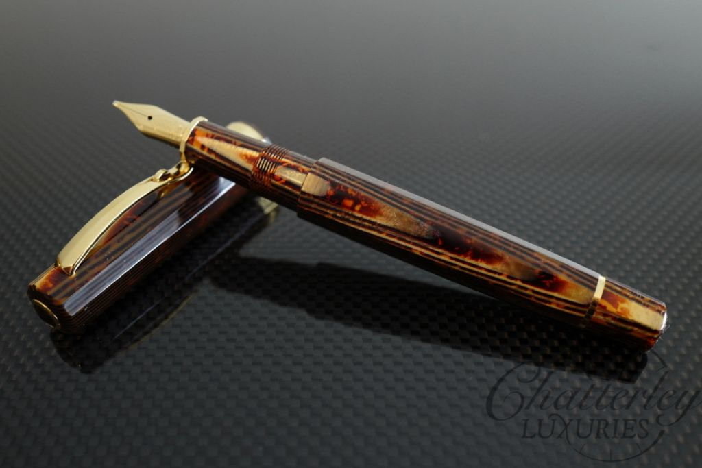 Omas Brown Bronze Arco Celluloid Milord Fountain Pen with Yellow Gold Trim