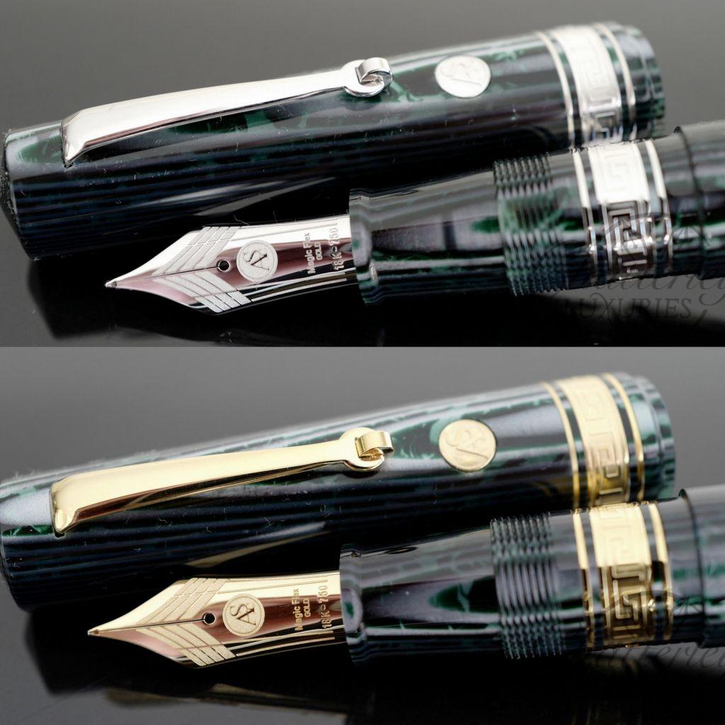 Armando Simoni Club Bologna Extra Arco Green Celluloid Fountain Pen